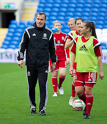 CARDIFF, WALES - Tuesday, August 21, 2014: Wales' manager Jarmo Matikainen before the FIFA Women's World Cup Canada 2015 Qualifying Group 6 match against England at the Cardiff City Stadium. (Pic by David Rawcliffe/Propaganda)