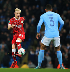 Hordur Magnusson of Bristol City takes on Danilo of Manchester City - Mandatory by-line: Matt McNulty/JMP - 09/01/2018 - FOOTBALL - Etihad Stadium - Manchester, England - Manchester City v Bristol City - Carabao Cup Semi-Final First Leg