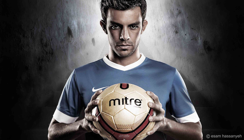 Footballer Portrait. This is a composite shot adding the footballer into a separate background.
