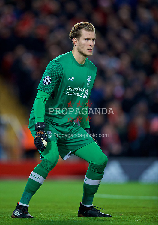 LIVERPOOL, ENGLAND - Wednesday, December 6, 2017: Liverpool's goalkeeper Loris Karius during the UEFA Champions League Group E match between Liverpool FC and FC Spartak Moscow at Anfield. (Pic by David Rawcliffe/Propaganda)
