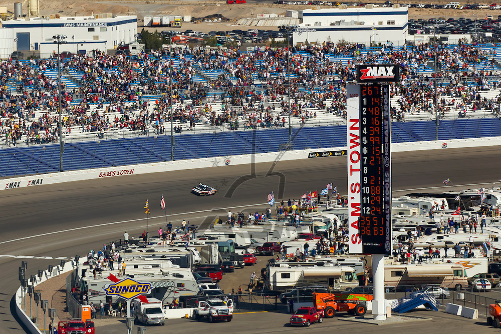 LAS VEGAS, NV - MAR 11, 2012:  Tony Stewart (14) drives his Mobil 1 Chevrolet into Victory Lane, winning the Kobalt Tools 400 race at the Las Vegas Motor Speedway in Las Vegas, NV.