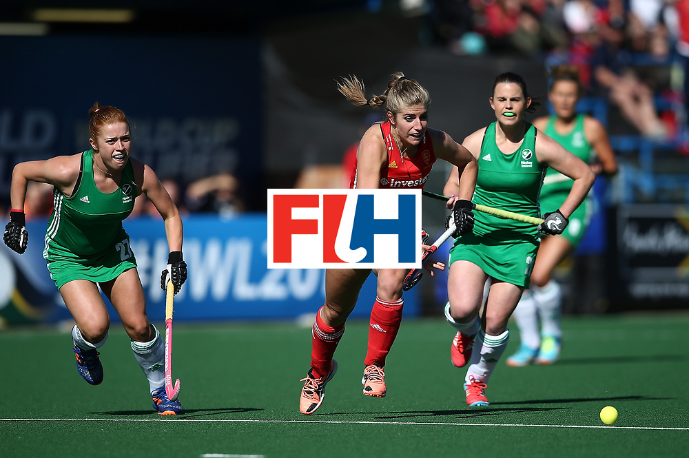 JOHANNESBURG, SOUTH AFRICA - JULY 16:  Anna Toman of England controls the ball from Zoe Wilson of Ireland during day 5 of the FIH Hockey World League Women's Semi Finals Pool A match between England and Ireland at Wits University on July 16, 2017 in Johannesburg, South Africa.  (Photo by Jan Kruger/Getty Images for FIH)