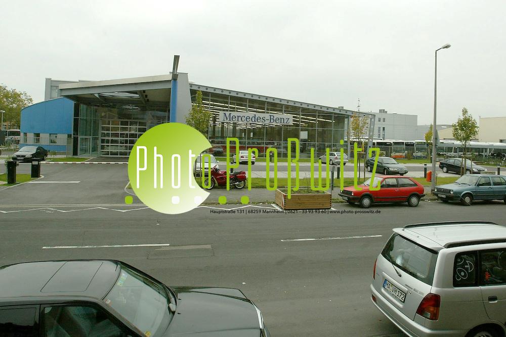 Mannheim. Luzenberg. Impressionen. Wohnungen, Spielplatzbaustelle und die EVO Bus Halle <br /> <br /> Bild: Pro&szlig;witz