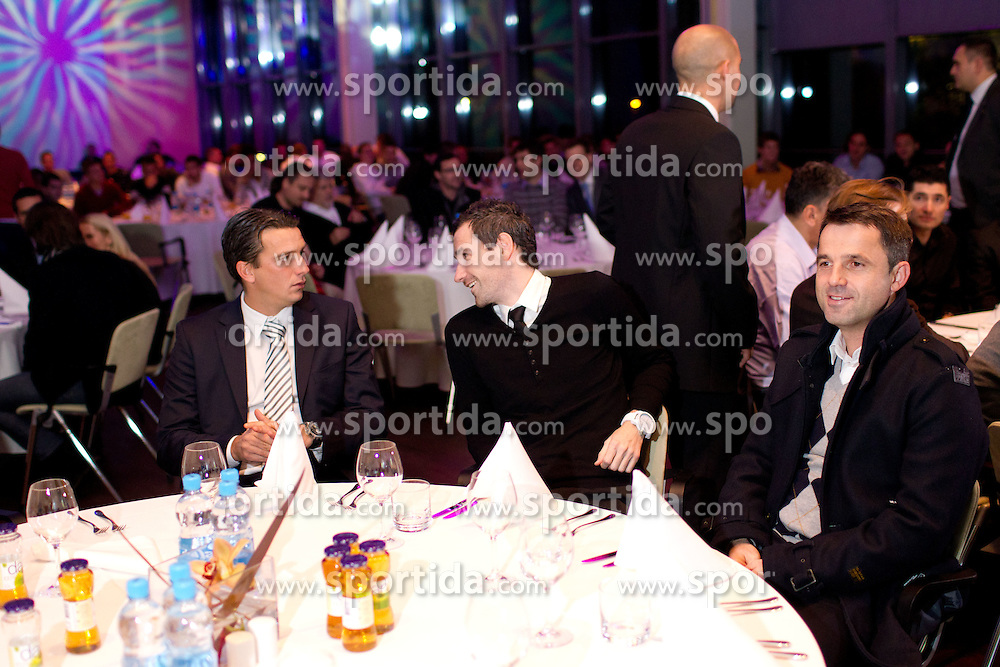Milenko Acimovic, Tine Zupan and Dusan Kosic of NK Olimpija during the Slovenian men's football player of the year 2011 award at the SPINS XI  Nogometna Gala, on November 24, 2011 in Hotel Mons, Ljubljana, Slovenia. (Photo By Vid Ponikvar / Sportida.com)