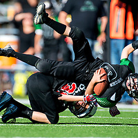 11031313    Brian Leddy<br /> Gallup Bulldog Jackson Stacey (31) takes down Farmington Duck Noah Jordan (6) during Saturday's game at Public School Stadium.