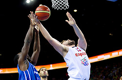 Florent Pietrus of France vs Marc Gasol of Spain during final basketball game between National basketball teams of Spain and France at FIBA Europe Eurobasket Lithuania 2011, on September 18, 2011, in Arena Zalgirio, Kaunas, Lithuania. (Photo by Vid Ponikvar / Sportida)