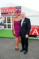 Anthony Ryan, Anthony Ryans Ltd with Rosanna Davison judge in  the Anthony Ryan's Best Dressed ladies day at the Galway . Photo:Andrew Downes.Photo issued with Compliments, No reproduction fee on first use