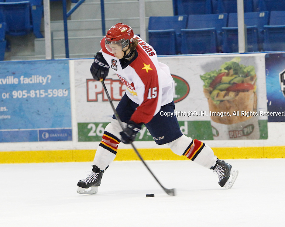 OAKVILLE, ON - Sep 28, 2014 :  Ontario Junior Hockey League game action between Wellington and Buffalo at the Governor's Showcase Tournament. Josh Supryka #15 of the Wellington Dukes Hockey Club shoots the puck from the blue line during the first period.<br /> (Photo by Tim Bates / OJHL Images)