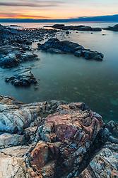 Dawn on the rocks, Atlantic Ocean, Rye, New Hampshire.