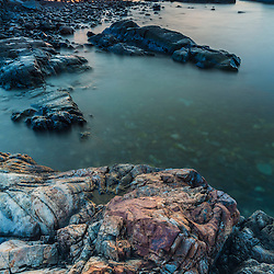 Dawn on the rocks, Atlantic Ocean, Rye, New Hampshire.