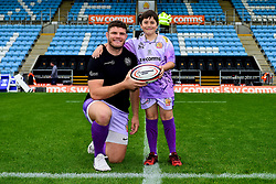 Exeter Chiefs child match mascot with Dave Ewers prior to kick off - Mandatory by-line: Ryan Hiscott/JMP - 12/10/2019 - RUGBY - Sandy Park - Exeter, England - Exeter Chiefs v Bristol Bears - Premiership Rugby Cup