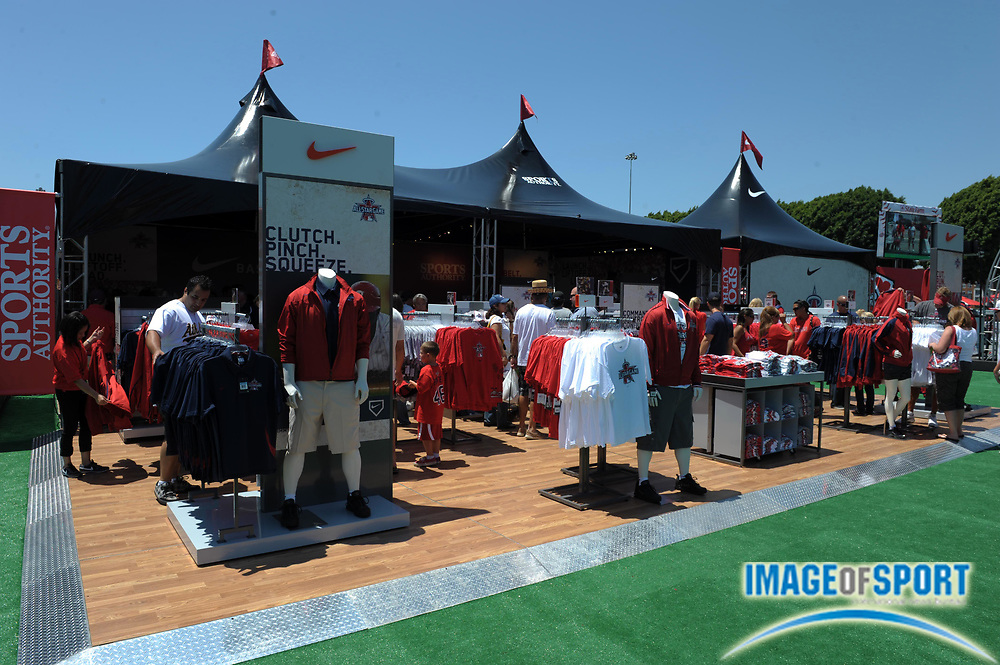 July 12, 2010; Anaheim, CA, USA; A general view of a souvenir stand before American League practice the day before the 2010 All Star game at Angel Stadium.