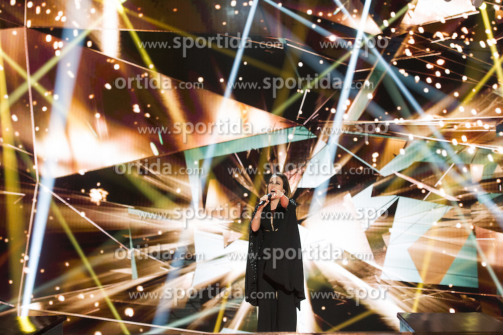 18.05.2015, Stadthalle, Wien, AUT, Eurovision Songcontest Vienna 2015, Kostümrpobe des Ersten Semifinales, im Bild Elhaida Dani aus Albanien // Elhaida Dani from Albania during dress rehearsal of the 1st semi final for Eurivision Songcontest Vienna 2015 at Stadthalle in Vienna, Austria on 2015/05/18, EXPA Pictures © 2015, PhotoCredit: EXPA/ Michael Gruber