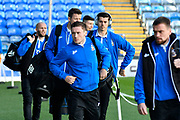 Bradford City players arrives at Fratton Park stadium before the EFL Sky Bet League 1 match between Portsmouth and Bradford City at Fratton Park, Portsmouth, England on 28 October 2017. Photo by Graham Hunt.