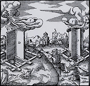 Revolving wooden wind vanes fitted to the top of mine ventilation shafts.  When they revolved they acted as extractor fans sucking stale air from the mine.   From 'De re metallica', by Agricola, pseudonym of Georg Bauer (Basle, 1556).  Woodcut.