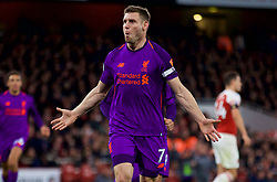 LONDON, ENGLAND - Saturday, November 3, 2018: Liverpool's captain James Milner celebrates scoring the first goal during the FA Premier League match between Arsenal FC and Liverpool FC at Emirates Stadium. (Pic by David Rawcliffe/Propaganda)