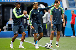 June 21, 2018 - Saint Petersburg, Russia - (L to R) Paulinho, Neymar and Pedro Geromel during a Brazil national team training session during the FIFA World Cup 2018 on June 21, 2018 at Saint Petersburg Stadium in Saint Petersburg, Russia. (Credit Image: © Mike Kireev/NurPhoto via ZUMA Press)