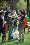 Emily Allen talks to others after accepting her award for having the best female overall completion time during the Race for a Reason Mud Run, Saturday, April 27, 2013. Allen is from Lebanon, OH, and is a junior at Ohio University. Race for a Reason, Race 4 A Reason, Annual Events, Events, Students, Faculty & Staff