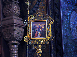 An exquisite detail inside the Church of Our Savior on the Spilled Blood in St. Petersburg, Russia.
