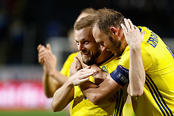 November 21, 2018 - Stockholm, Sweden - Andreas Granqvist (R) and Sebastian Larsson of Sweden celebrate victory during the UEFA Nations League B Group 2 match between Sweden and Russia on November 20, 2018 at Friends Arena in Stockholm, Sweden. (Credit Image: © Mike Kireev/NurPhoto via ZUMA Press)
