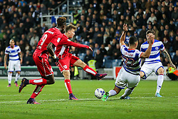 Luke Freeman of Bristol City has his shot blocked by Steven Caulker of Queens Park Rangers - Rogan Thomson/JMP - 18/10/2016 - FOOTBALL - Loftus Road Stadium - London, England - Queens Park Rangers v Bristol City - Sky Bet EFL Championship.