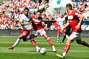 Josh Brownhill (8) of Bristol City holds off Joao Carvalho (10) of Nottingham Forset during the EFL Sky Bet Championship match between Bristol City and Nottingham Forest at Ashton Gate, Bristol, England on 4 August 2018. Picture by Graham Hunt.