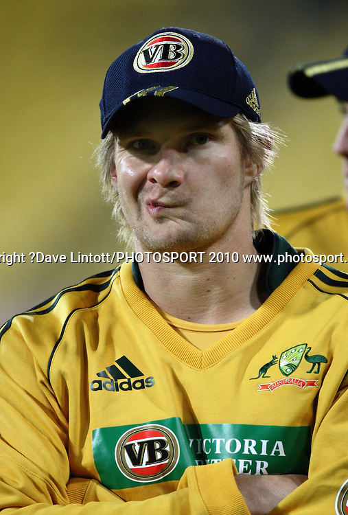 Australia's Shane Watson after the loss.<br /> Fifth Chappell-Hadlee Trophy one-day international cricket match - New Zealand v Australia at Westpac Stadium, Wellington. Saturday, 13 March 2010. Photo: Dave Lintott/PHOTOSPORT