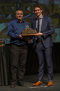 KELOWNA, CANADA - MARCH 19:  Plus Minus Award presented to Cal Foote by Dan Fogarty at the Kelowna Rockets Awards Ceremony on March 19, 2017 at the Kelowna Community Theater in Kelowna, British Columbia, Canada.  (Photo By Cindy Rogers/Nyasa Photography,  *** Local Caption ***