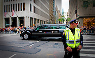 NEW YORK - President Obama rides in the beast true the streets of NEW YORK  COPYRIGHT ROBIN UTRECHT