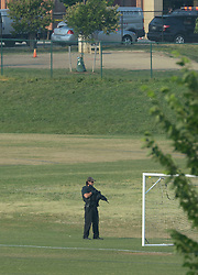 June 14, 2017 - Alexandria, Virginia, U.S. - A wounded unknown victim is helicoptered out from a baseball field adjacent to YMCA in Del Ray area. After multiple shots were heard shortly after 7:00AM law enforcement and emergency medical personnel at the 400 block of E Monroe Ave in the DelRay neighborhood of northern Alexandria in the nation's capital. (Credit Image: © Essdras M Suarez/ZUMA Press)