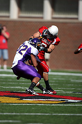 29 September 2007:  Tom Nelson locks up Darian Williams and grabs the face mask. In action between the Northern Iowa Panthers and the Illinois State Redbirds, the Panthers chewed up the Redbirds by a score of 23 - 13. Game action commenced at Hancock Stadium on the campus of Illinois State University in Normal Illinois..