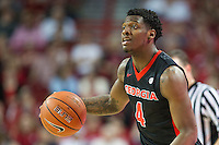 FAYETTEVILLE, AR - MARCH 4:  Tyree Crump #4 of the Georgia Bulldogs dribbles the ball down the court during a game against the Arkansas Razorbacks at Bud Walton Arena on March, 2017 in Fayetteville, Arkansas.  The Razorbacks defeated the Bulldogs 85-67.  (Photo by Wesley Hitt/Getty Images) *** Local Caption *** Tyree Crump