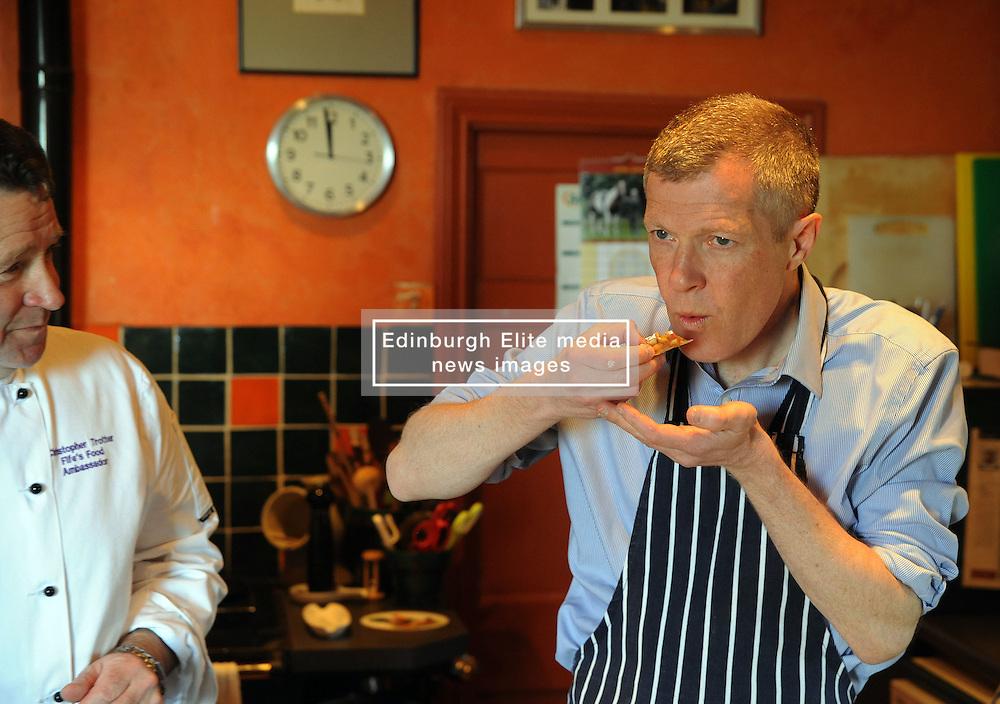 WILLIE RENNIE, UPPER LARGO, 19-4-2016<br /> <br /> Willie Rennie visited Fife food Ambassador, Christopher Trotter where he made a rhubarb tart at Buckthorns House, Upper Largo<br /> <br /> (c) David Wardle   Edinburgh Elite media