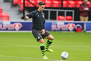 Forest Green Rovers Liam Shephard(2) warming up during the EFL Sky Bet League 2 match between Salford City and Forest Green Rovers at Moor Lane, Salford, United Kingdom on 28 September 2019.