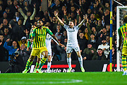 Leeds United defender Stuart Dallas (15) reacts to West Bromwich Albion defender Kyle Bartley (5) hand ball shout during the EFL Sky Bet Championship match between Leeds United and West Bromwich Albion at Elland Road, Leeds, England on 1 October 2019.