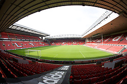 The view of the Anfield pitch from the Anfield Road Lower Stand, centre of Block 123.