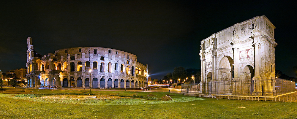Rome's Colosseum at night. High resolution panorama.