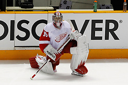 May 1, 2011; San Jose, CA, USA;  Detroit Red Wings goalie Jimmy Howard (35) warms up before game two of the western conference semifinals of the 2011 Stanley Cup playoffs against the San Jose Sharks at HP Pavilion. San Jose defeated Detroit 2-1. Mandatory Credit: Jason O. Watson / US PRESSWIRE