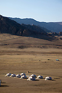 Mongolia. yurt camp and landscape  in Terelg valley