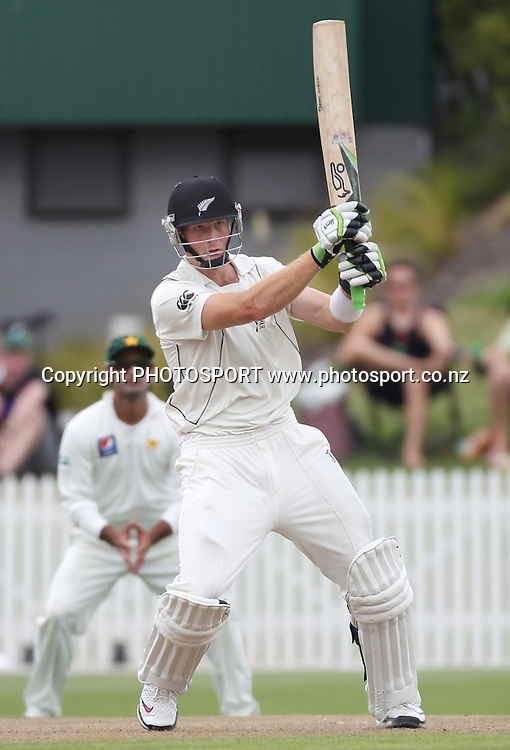 Martin Guptill batting during the first morning. New Zealand Black Caps v Pakistan, Test Match Cricket. Day 1 at Seddon Park, Hamilton, New Zealand. Friday 7 January 2011. Photo: Andrew Cornaga/photosport.co.nz
