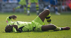 COLCHESTER, ENGLAND - Saturday, April 24, 2010: Tranmere Rovers' Bas Savage lies on the floor in pain after injuring his back in a aireal collision during the Football League One match at the Western Community Stadium. (Photo by Gareth Davies/Propaganda)