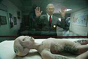 Retired mortician Glenn Dennis who was on duty in Roswell, New Mexico, the night of the purported crash of a UFO outside of the nearby town of Corona peers at the replica of an alien body (a movie prop) in a local museum. Dennis, whose wife doesn't allow the discussion of UFO's in their home, is president of the International UFO Museum and Research Center, in Roswell. Stories about the crash spread and some called the incident a government cover up hiding the existence of alien life forms. Officials said it was a weather balloon. Model Released (1997) .