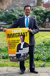 © Licensed to London News Pictures. 08/04/2015. LONDON, UK. S Chelvan from Sri Lanka and a barrister taking part at 'I am an Immigrant' poster campaign launch in London on Wednesday, 8 April 2015. The posters feature images of 15 immigrants and will appear in 400 London tube stations and 550 national rail stations across the country. Photo credit : Tolga Akmen/LNP