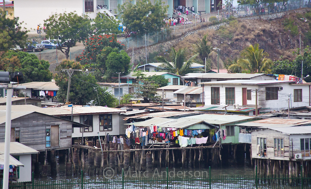 Koki, a settlement village built over the sea, Port Moresby, Papua New Guinea
