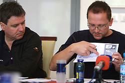 Journalist Dare Rupar and Martin Hvastija, coach of Slovenian National Cycling team at press conference before World Championship 2008 in Varese (ITA), on September 19, 2008, in Ljubljana, Slovenia. (Photo by: Vid Ponikvar / Sportal Images)./ Sportida)