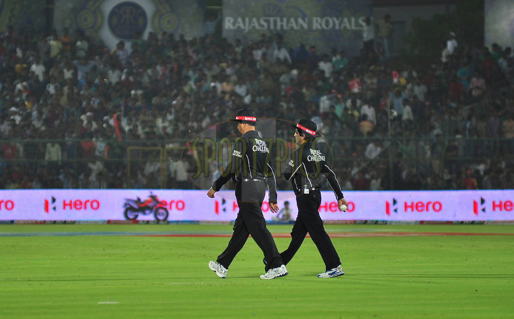 Umpires during match 30 of the the Indian Premier League ( IPL) 2012  between The Rajasthan Royals and the Royal Challengers Bangalore held at the Sawai Mansingh Stadium in Jaipur on the 23rd April 2012..Photo by Arjun Panwar/IPL/SPORTZPICS