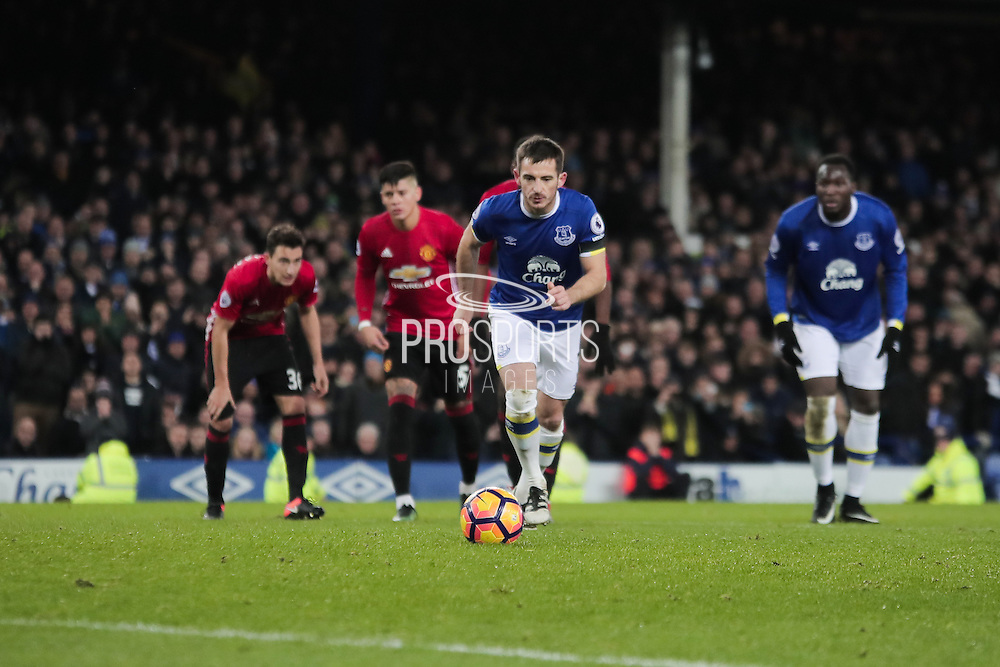 Everton defender Leighton Baines steps up to equalise from the spot to make the score 1-1 during the Premier League match between Everton and Manchester United at Goodison Park, Liverpool, England on 4 December 2016. Photo by Simon Brady.