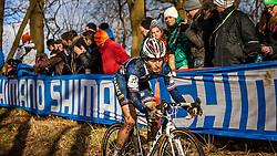 Guillaume PERROT (22,FRA), 4th lap at Men UCI CX World Championships - Hoogerheide, The Netherlands - 2nd February 2014 - Photo by Pim Nijland / Peloton Photos