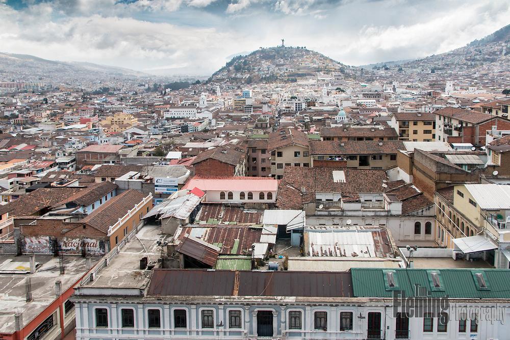 View of Quito, the capitol of Ecuador, from the Basílica del Voto Nacional.