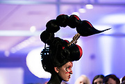"Model Amanda Acker displays the ""Scorpius Antares"" hair sculpture during ""Hair Affair: The Art of Hair"" at Madison Museum of Contemporary Art in Madison, WI on Thursday, April 25, 2019. The sixth biennial brought an array of designers and stylists from across Wisconsin to create under the theme of ""Zodiac."""